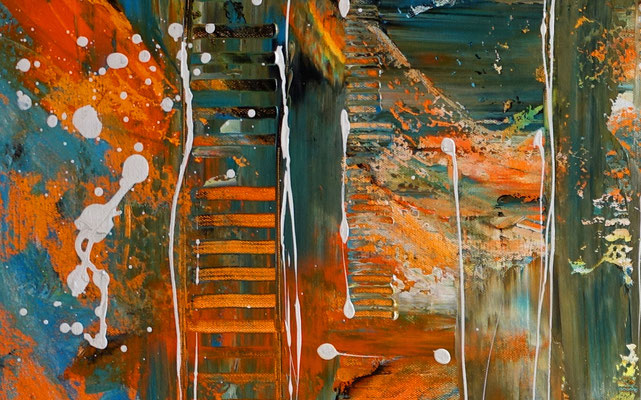 Wallstreet abstrakte Malerei Original Acrylgemälde Acrylbild orange cyan 100x50