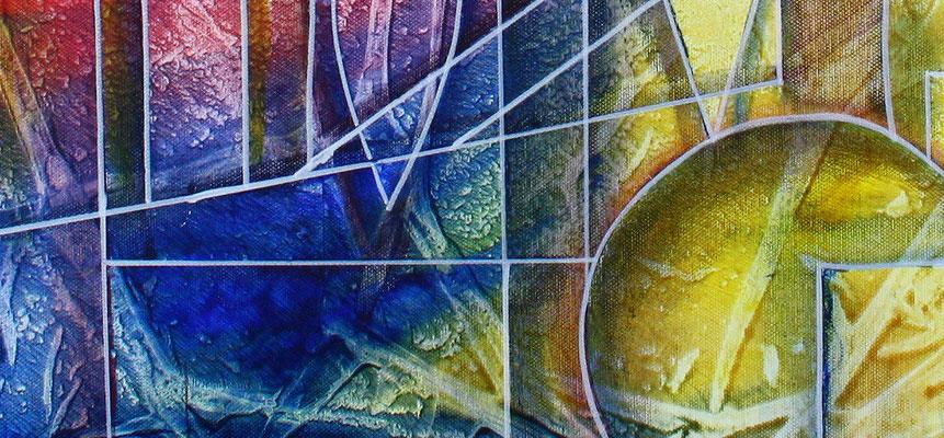 Planeten Wanderung rot gelb blau - abstraktes Gemaelde Bild - Kunst