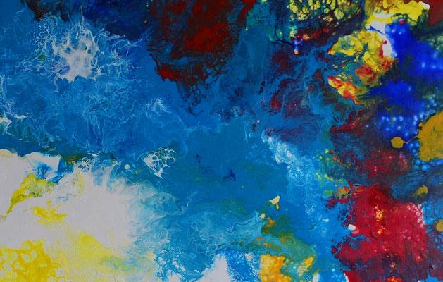 Ursprung abstrakte Kunst Malerei blau gelb Wandbild Leinwandbild