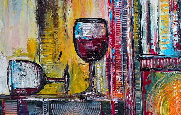 Wein Stillleben Weinflasche Gläser abstrakt Acryl Malerei Gemälde Leinwandbild