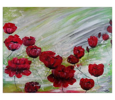 Mohnblumen Tanz Blumenmalerei Wandbild Blüten handgemalt