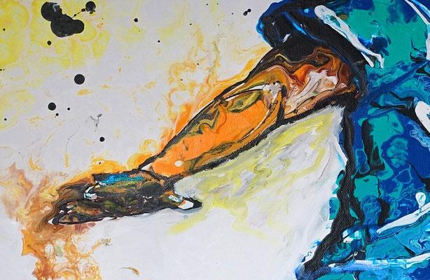 Abstoß Fußballer Spieler abstrakte Malerei Fluid Art Kunstbild