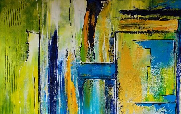 Abstraktes Wandbild XXL 180x180 abstrakte Malerei blau grün gelb gold Original Gemälde Büro
