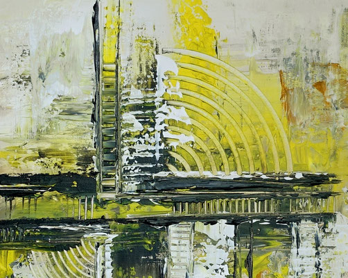 Infinion Abstrakte Malerei Wandbild Kunstbild Gelb grau 50x100 hochkant