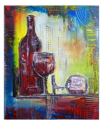 Weingläser Flasche abstrakte Malerei Rotwein Gläser Acrylbild Wandbild
