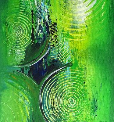 Wandbilder grün abstraktes Acrylgemälde zweiteilig