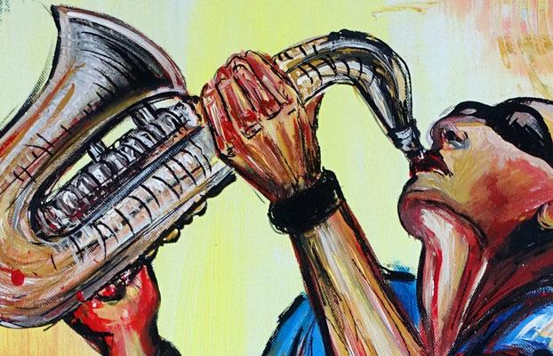 Saxophonspieler 4 handgemaltes Musiker GEmälde Sax Player Modern Saxophonist