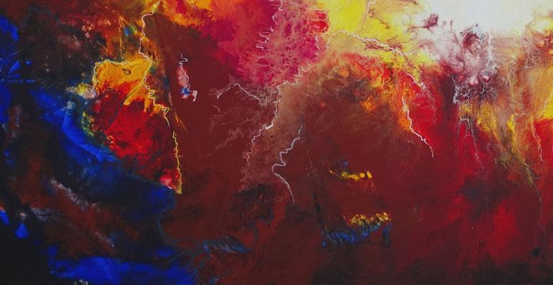 Rote Nova XXL abstrakte Malerei Wandbild Leinwand bild Original Gemälde rot blau bunt