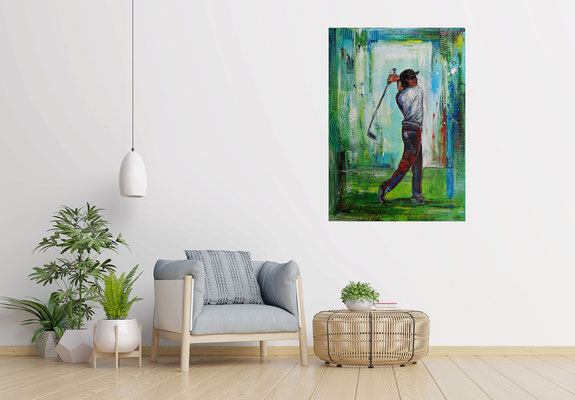Golfer Abschlag Golfbild Gemälde Golfplatz Malerei Wandbild Leinwandbild Original Unikat 70x100 21-03-08