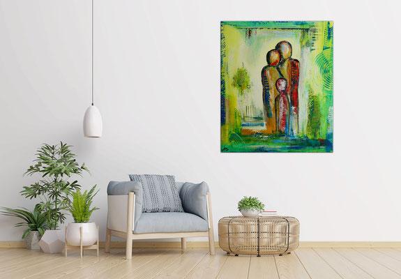 Familien Trio Figuren Malerei Wandbild Acrylbilder Moderne Malerei 60x80x2 21-03