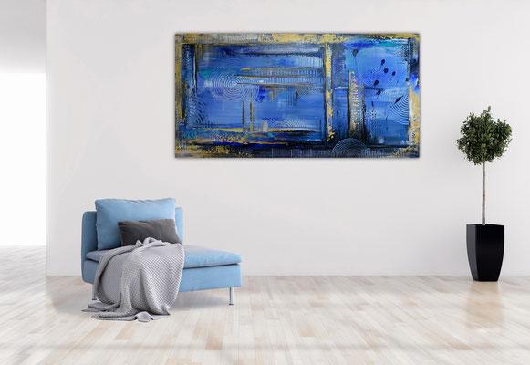 Unter Wasser Stadt abstrakte Gemälde Wandbild Acrylbild 100x50