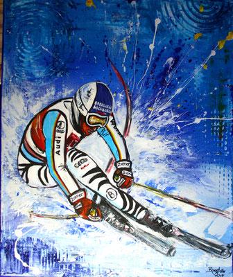 Fritz Dopfer Skifahrer Gemälde - für die ISPO 2017 in München