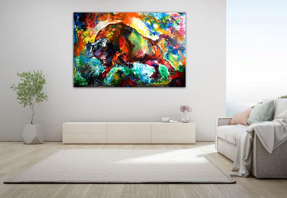 Veneno Wilder Stier abstrakt Torro Bulle Wandbilder moderne Tier Malerei Gemälde
