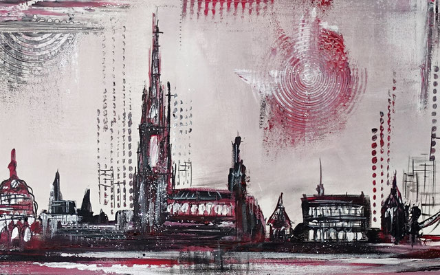 Skyline Ulm Münster RAthaus abstrakt gemaltes Wandbild Leinwandbild 140x60