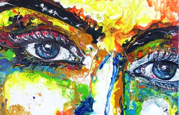 Uma Leinwandbild Gesicht Frau abstrakte Malerei Modernes Acryl bild