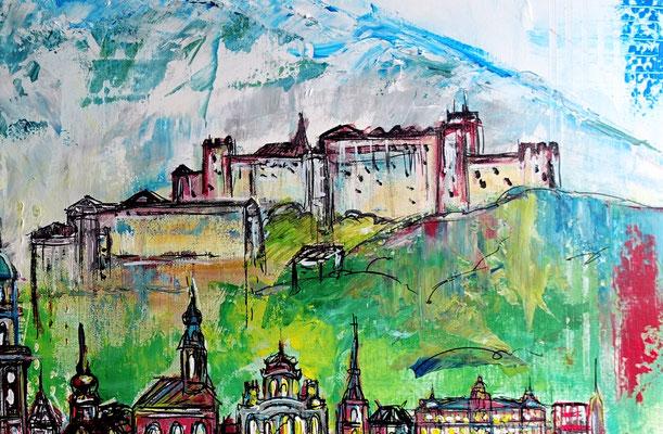 Salzburg Skyline Altstadt abstrakt gemalt Malerei Kunstbild Acryl Gemälde 100x80
