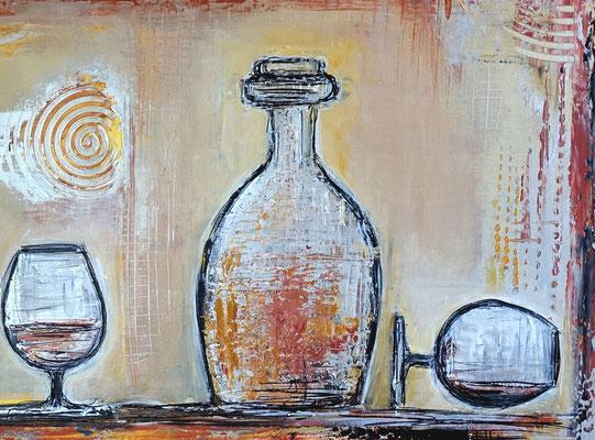 Wandbild Karaffe Cognac Whiskey Gläser abstrakte Malerei Acrylbild