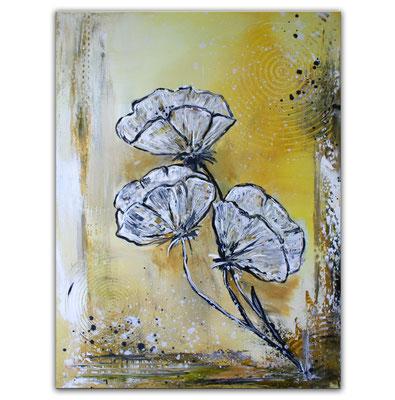 Mohnblumen im Sturm ocker grau weiß Blumenbild Malerei Gemälde Wandbild Blüten handgemalt 60x80