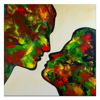 Kuss 21-1 abstrakte Malerei Liebesbild Wohnzimmerbild Fiuren Gesichter