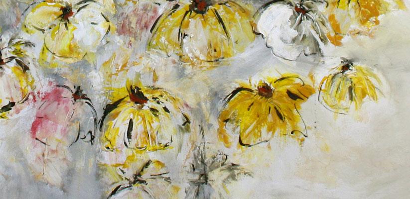 Blumenbild zweiteilig abstrakt xxl grau rot gelb Blumen Gemälde - Detail 5