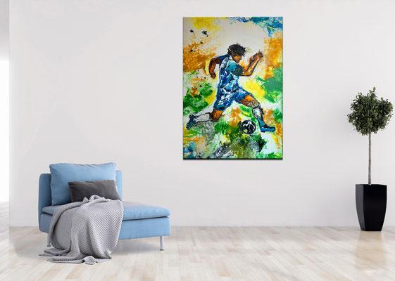 Fußball Gemälde Sport Malerei Abstrakte Kunst Bild Wandbild Unikat