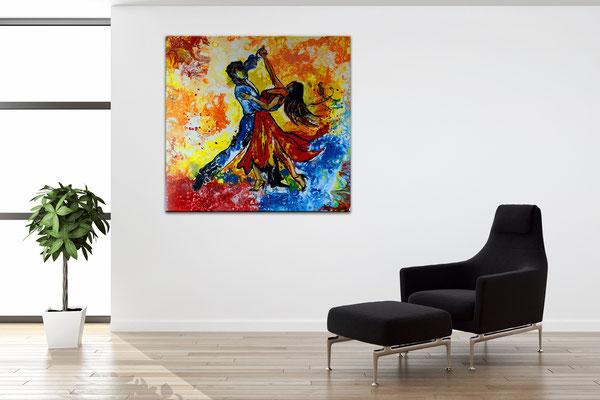Tango Salsa Tänzer Bild handgemalt - Tanzbild Tanz Malerei Wandbild Acrylbild Gemälde