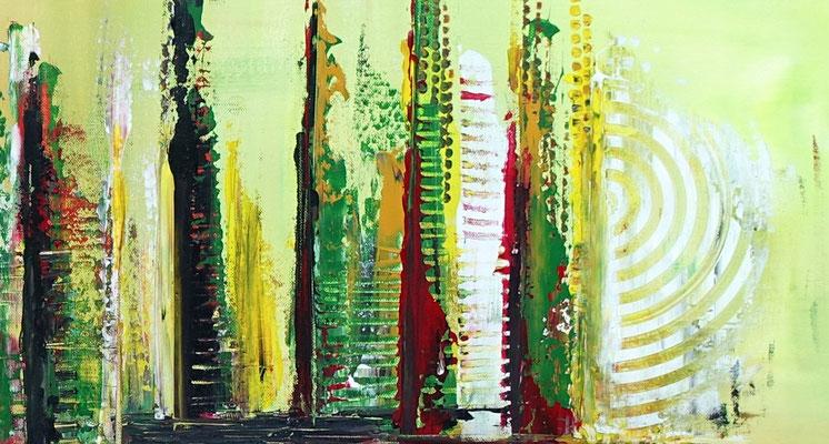 Im Park abstraktes Bild grün rot Moderne Malerei Original Gemälde