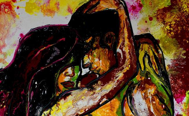 Begierde Erotik Bild Liebespaar Erotisches Gemälde Malerei Kunst Bild Acrylbild