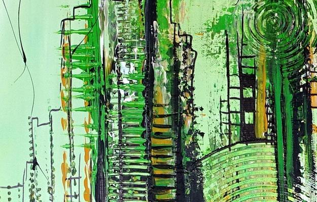 Wohnzimmerbild Leinwandbild Wandbild abstrakt gemalt grün Malerei