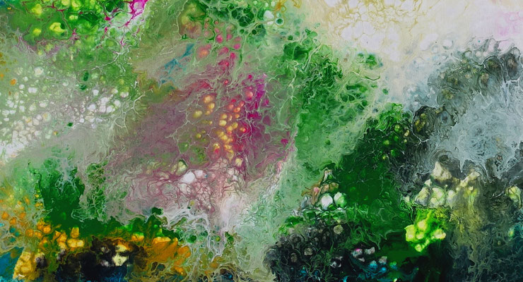 Frühling Moderne Malerei Fluid Art Künstler Bilder Originale70x145