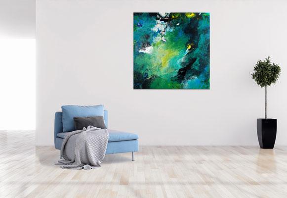 Strömung Wohnzimmerbild abstraktes Kunstbild Original Gemälde Malerei 80x80