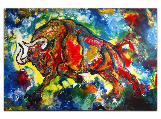 Diablo Wilder Stier Torro Bulle handgemalte Acrylbilder Wandbilder Moderne Tier Malerei