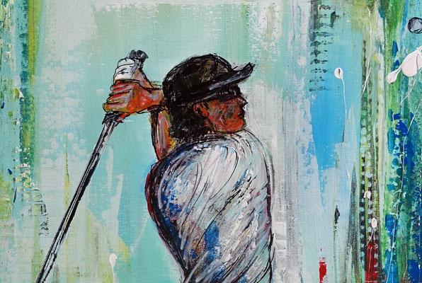 Golfer Abschlag Golfbild Gemälde Golfplatz Malerei Wandbild Leinwandbild Original Unikat 70x100