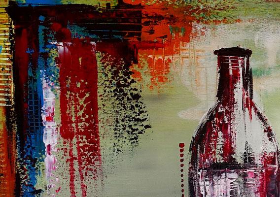 Rotwein Flasche Weingläser Wein abstraktes Gemälde Acryl bild Kunstbild handgemalt