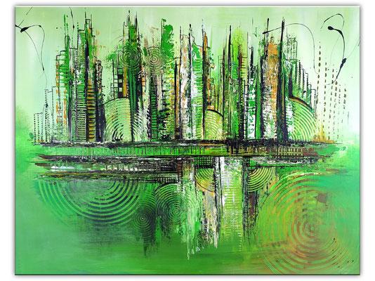 Wohnzimmerbild Leinwandbild Wandbild abstrakt gemalt grün Malerei Gemälde