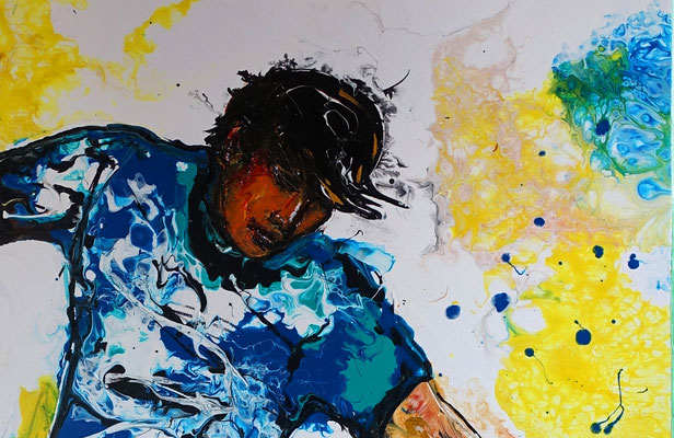 Leinwandbild Fußball Hacke abstrakte Kunst Malerei Original Gemälde