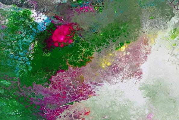 Erwachen Fluid Art Abstraktes Wandbild grün rosa Moderne Malerei Künstler Bilder
