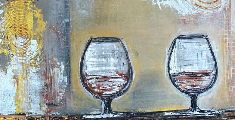 Wandbild Karaffe Cognac Whiskey Gläser abstrakte Malerei Acrylbild handgemalt