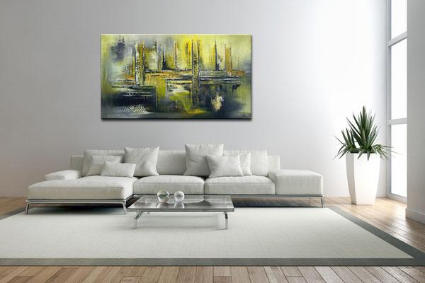 Sonnenstadt bilder gemaelde abstrakt gelb grau acrylbilder abstrakt