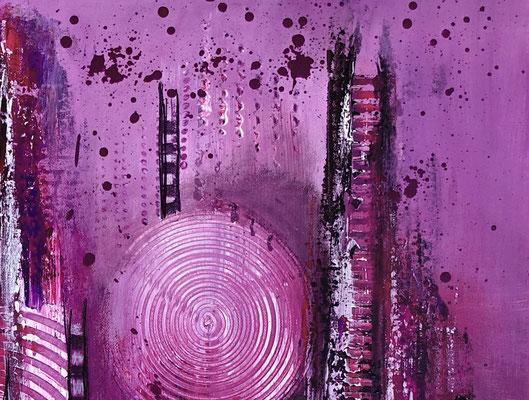 Lila City abstrakte Malerei Wandbild Acrylbild Moderne Kunst Original Gemälde