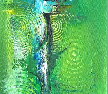Küchenbilder grün abstraktes Acrylgemälde zweiteilig 5+6 k2