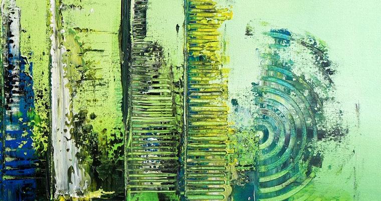 Abstrakte Kunst Bilder Grün Malerei Leinwandbild Acryl