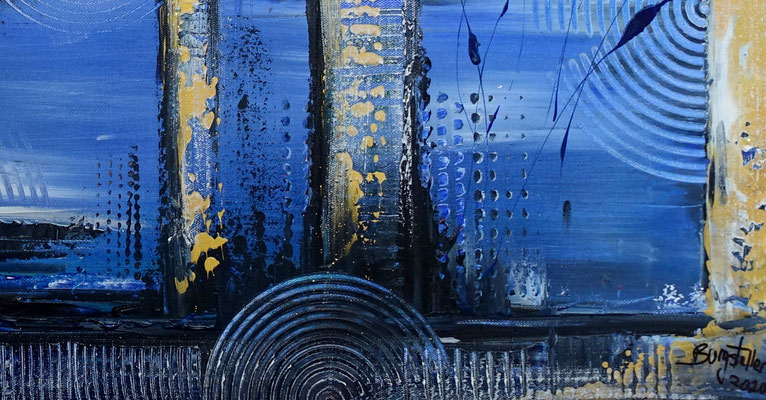 Unter Wasser Stadt abstrakte Gemälde Leinwandbild Acrylbild 100x50