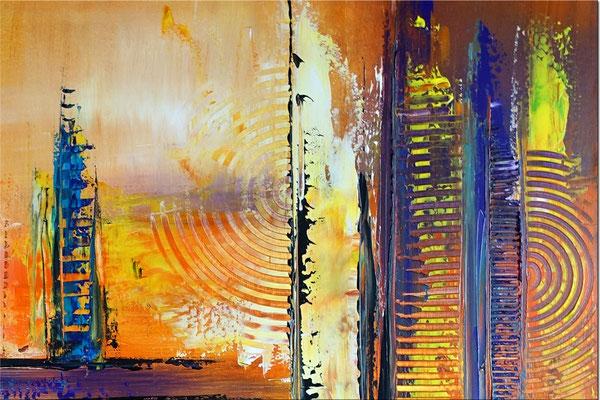 Abstraktes Wandbild XXL zweiteilig orange blau Original Gemälde Acrylbild