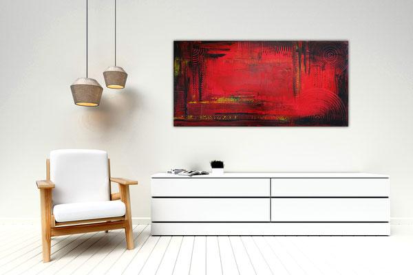 Glut abstraktes Wandbild rot schwarz Gemälde Unikat Kunst 100x50