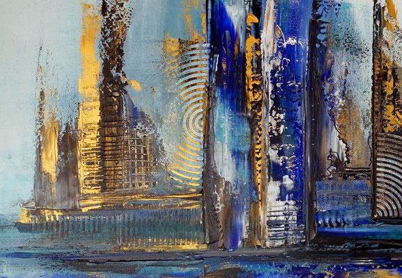 Hafenstadt abstrakte Malerei blau gold Wandbild Acrylbild Künstler Bild handgemalt