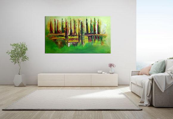 Im Park abstraktes Bild grün rot Moderne Malerei Original Gemälde Acrylbild 140x80