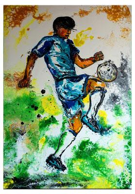 Fußball Knie Dribbeln abstrakte Sport Malerei Original Gemälde Kunst Bild