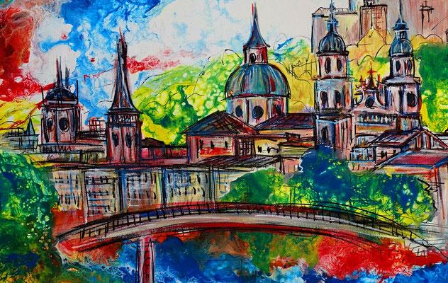 Salzburg Altstadt Festung Dom handgemalt Wandbild  liqud painting abstrakt 80x120