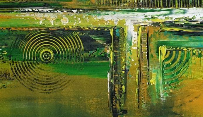 Grüne Lunge abstraktes Wandbild grün Leinwandbild handgemalt